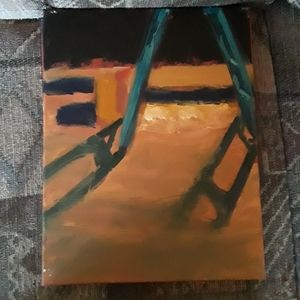Oil paint of a ladder canvas